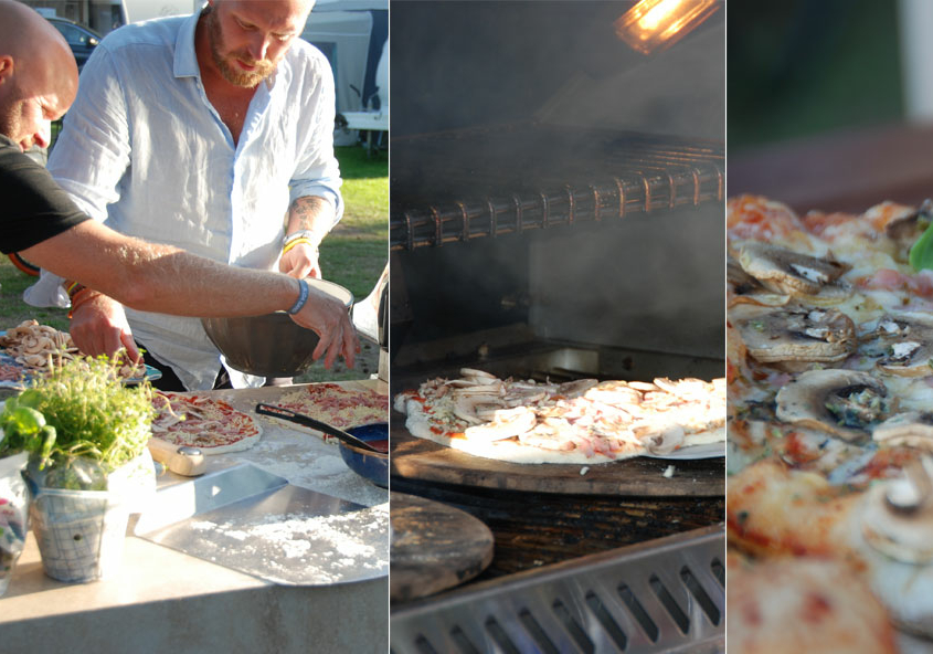 Pizzabakning på grill med pizzasten